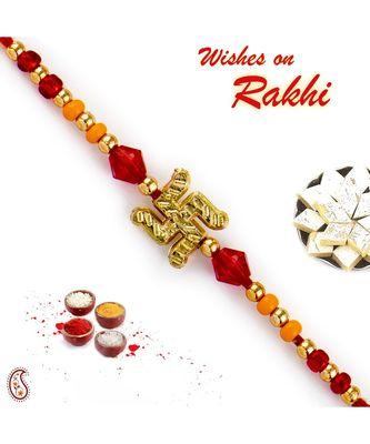 Red & Orange Beads & Swastik Motif Rakhi