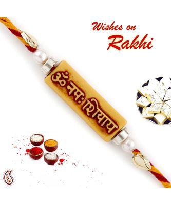 """""""Om Namah Shivaya"""" Reactangular Mauli Thread Rakhi"""