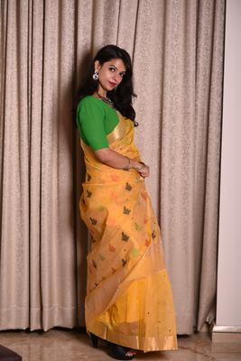 Yellow Chanderi with multicolor buttis