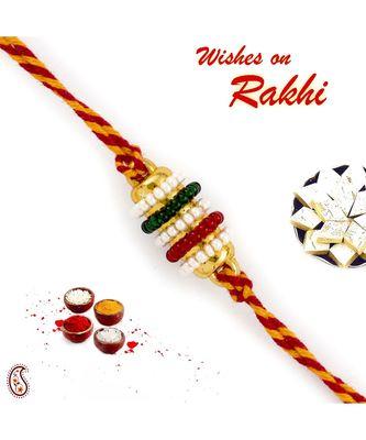 Small Colourful Beads Studded Mauli Thread Rakhi