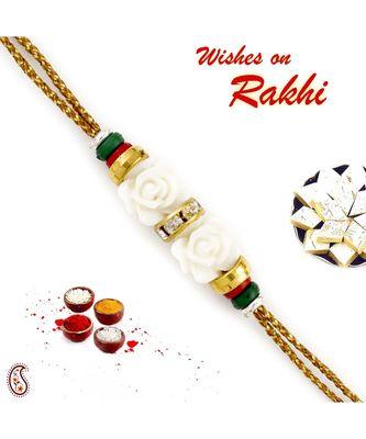 White Rose with Colourful Beads Rakhi