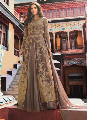 Brown embroidered net salwar