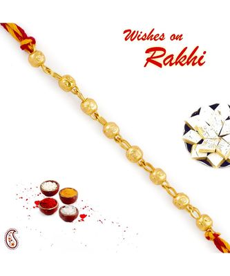 Golden Beads Mauli Rakhi