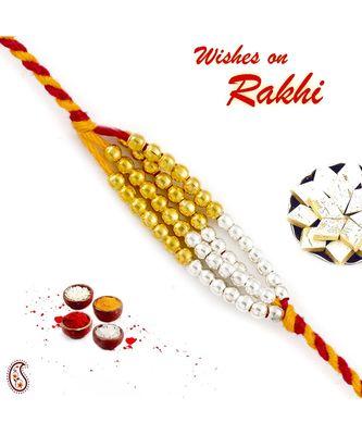 Golden And Silver Small Beads Mauli Thread Rakhi