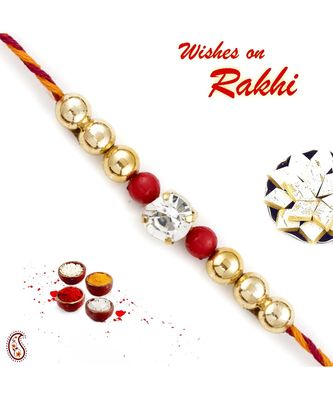 Golden and Red Beads with AD studded Thread Rakhi