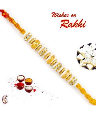 Golden & White Beads Thread Rakhi