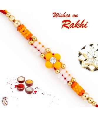 Yellow Floral Motif Thread Rakhi