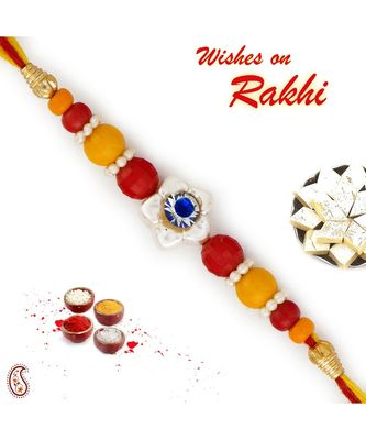 Yellow & Red Beads Studded Floral Design Rakhi