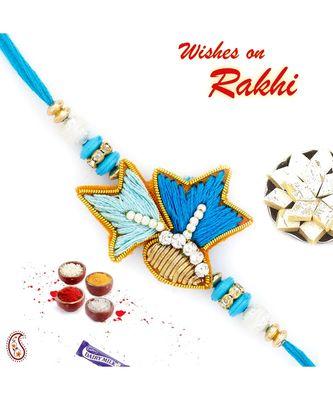 Elegant Blue Shade AD Studded Zardosi Rakhi