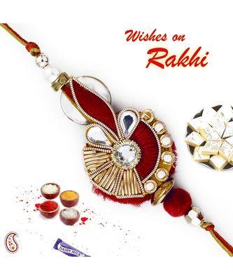 Red & Golden Zardozi Rakhi