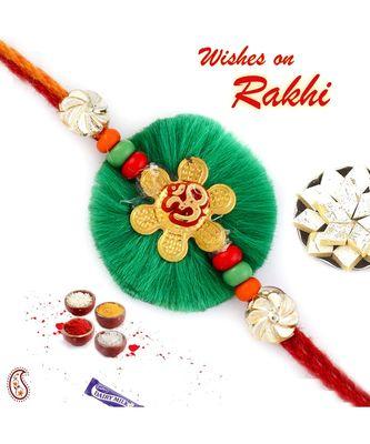 Lovely Green Resham Base Om Rakhi