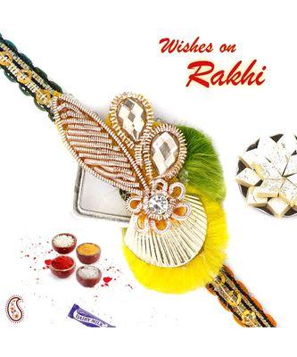 Yellow & Green Enticing Zardosi Rakhi