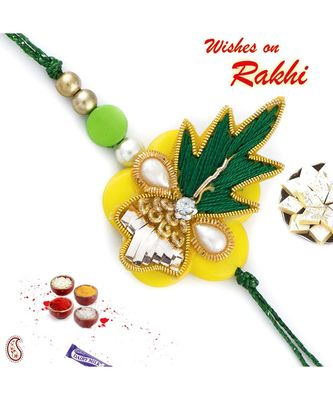 Yellow & Green Zardozi Rakhi with Colorful Beads