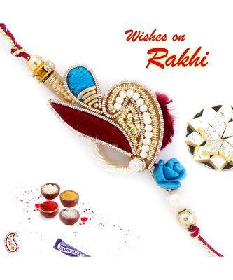Pretty White Beads Embellished Blue & Red Zardosi Rakhi