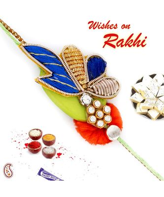 Multicolor Floral Design Zardosi Rakhi
