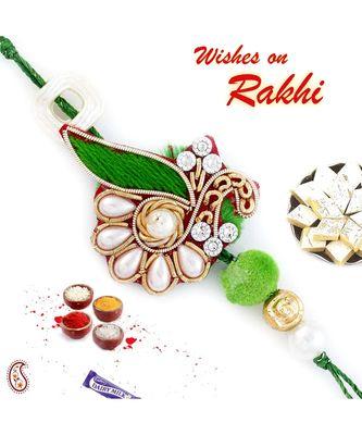 White Pearl Studded Green Zardosi Rakhi