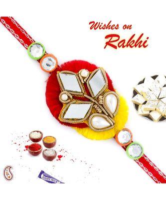 Mirror Work Red & Yellow Zardosi Rakhi