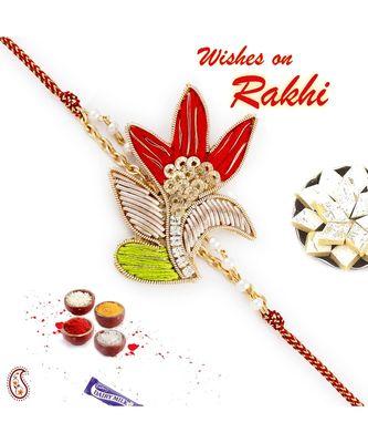 Beautiful Red & Green Rich Zardosi Work Rakhi