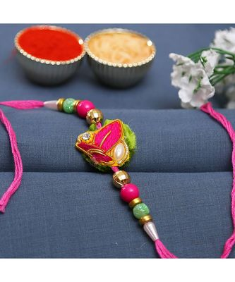 Pink & Green Beads Studded Zardosi Rakhi