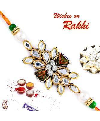Kundan & White Beads Studded Zardosi Rakhi