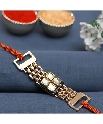 Metallic Bracelet Style Rakhi Embedded With Stones