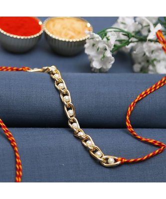 Pearl Studded Gold Chain Style Bracelet Rakhi