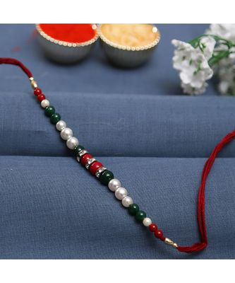 Fabulous Green & Maroon Beads Bracelet Style Rakhi With Pearl & Ad