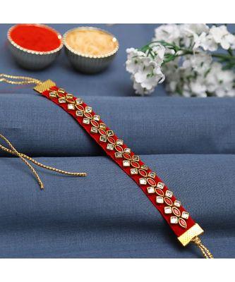 Red Stone Studded Bracelet Rakhi