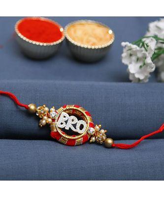 Round Base Red BRO Rakhi