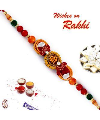 Multicolor Beads Studded Shree Motif Rakhi