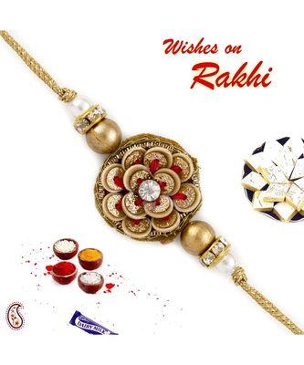 Metallic Flower Zardosi Rakhi With Ad And Golden Beads