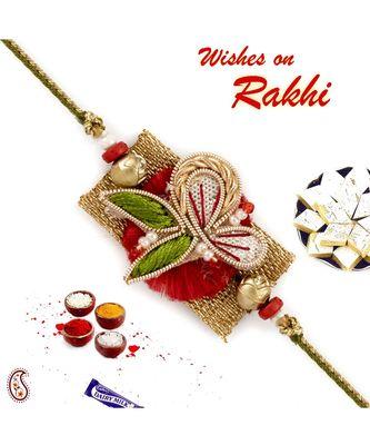 Multicolor Golden Base Zardosi Rakhi With Colourful Beads