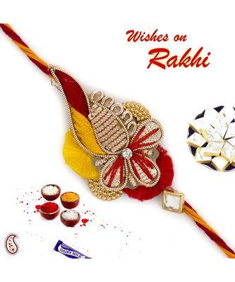 Red & Orange Charming Zardosi Rakhi