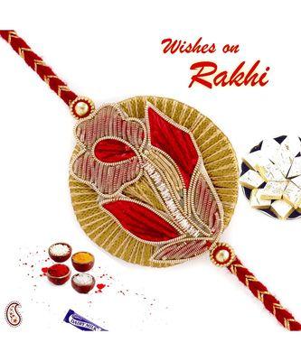 Beautiful Red & Golden Flower Design Rakhi with Zardosi Work