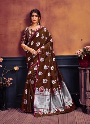 Dark brown printed banarasi silk saree with blouse