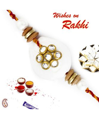 White Pearl & AD studded Rakhi with Colorful Beads