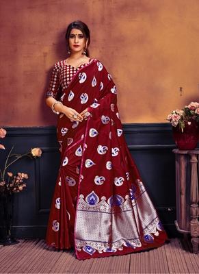 Maroon printed banarasi silk saree with blouse