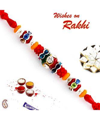 Multicolor Beads & AD Studded Stunning Rakhi