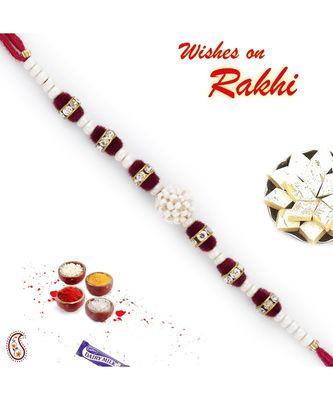 Transparent Crystal Beads & White Pearl Rakhi