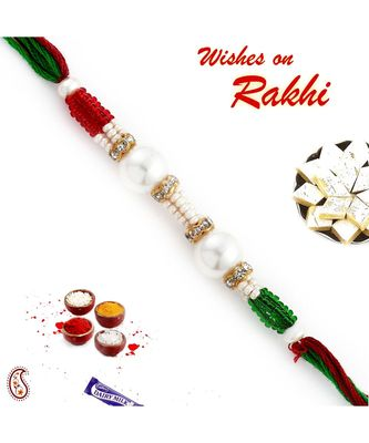 Round Pearl Rakhi With Coloured Beads