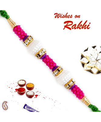 Pink Beads Embellished Pearl Rakhi
