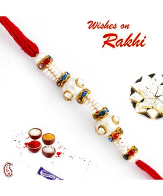 Pearl & Crystal Beads Embellished Designer Rakhi