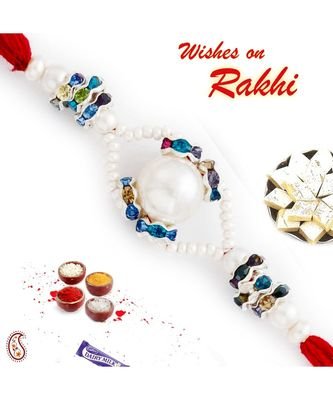 Multicolor Crystal Beads Studded Round Pearl Rakhi