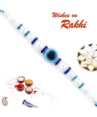 White Pearl & Evil Eye Studded Rakhi