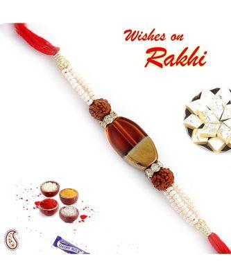 Pearl and Rudraksh Rakhi with Glass Melamine bead