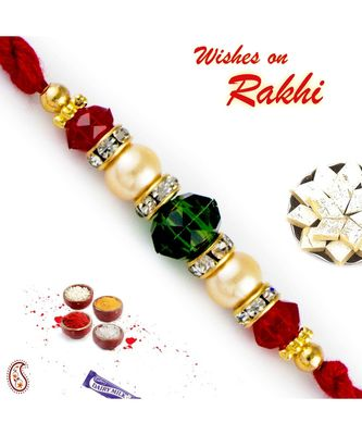 Green & Red Crystal Beads Pearl Rakhi
