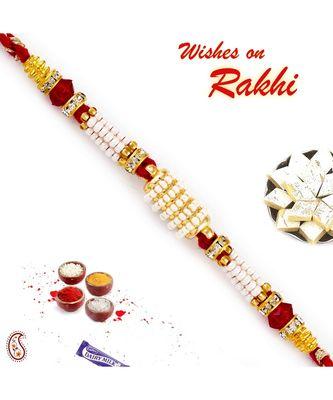 Multiple Pearl String Rakhi Embellished with AD
