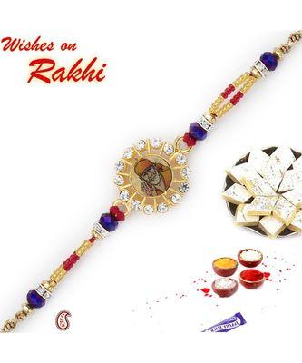 Multicolor Beads Sai Ram Motif Rakhi