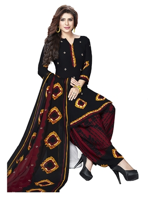 Black & Maroon Printed Women's Unstitched Salwar Suit Dress Material With Dupatta