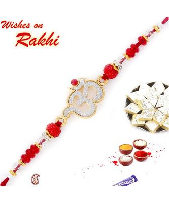 Sparkling OM Rakhi with Red Beads